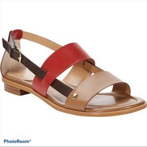 Tahari Aura Tan and Red Leather Flat Sandals 8.5